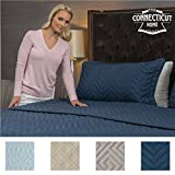 Extra Large King Size Duvet Cover The Connecticut Home Company Luxury Bedspread Quilt Collection, 3-Piece includes Shams, Oversized and Thick, Quilted Pattern, Top Choice by Decorators, Machine Washable (Navy-Chevron: King)