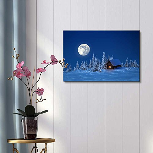 Beautiful Scenery Landscape Wooden House in Winter Forest Under The Bright Full Moon Wall Decor ation