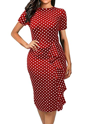 oxiuly Women's Casual Polka Dot Short Sleeve Round Neck Work Business Pencil Dress OX055 (S, Burgandy)