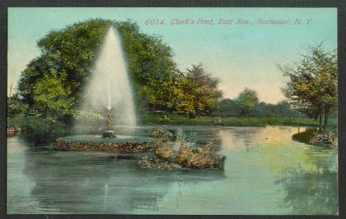 Clark's Pond Fountain Rochester NY postcard 1900s (Fountain Rochester)