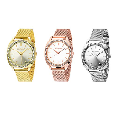 FIILIIP 3PCS Women Watches Casual Fashion Waterproof Wrist Quartz Watch Stainless Steel Band Strap Bracelet Diamond Rhinestone Mixed Color (Style 4)