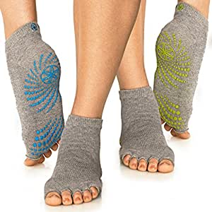 Gaiam Grippy Toeless Yoga Socks (2-Pack), Yellow/Blue