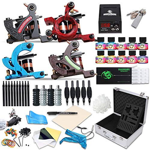 - Dragonhawk Complete Tattoo Kit 4 Standard Tunings Tattoo Machines Power Supply 10 Color Immortal Tattoo Inks 50 Needles Tips Grips with Case D139GD