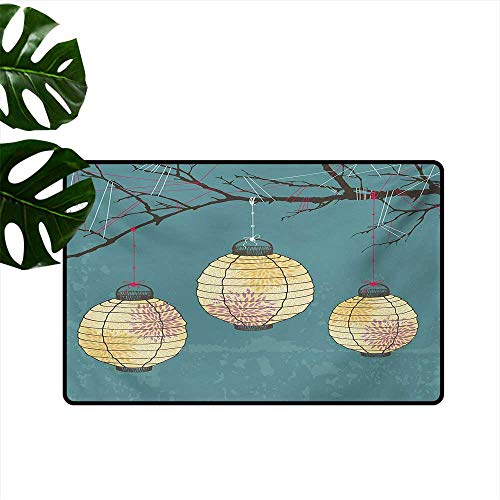 Non-Slip Floor mat,Three Paper Lanterns Hanging on Branches Lighting Fixture Source Lamp Boho 20