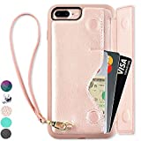iPhone 7 Plus Wallet Case, iPhone 8 Plus Card Holder Case, ZVEdeng Shockproof Leather Wallet Case with Credit Card Slot Holder for Apple iPhone 7 Plus/iPhone 8 Plus - Rose Gold