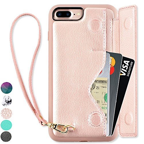 iPhone 7 Plus Wallet Case, iPhone 8 Plus Card Holder Case, ZVEdeng Shockproof Leather Wallet Case with Credit Card Slot Holder for Apple iPhone 7 PLUS/iPhone 8 Plus - Rose Gold by ZVEdeng (Image #10)