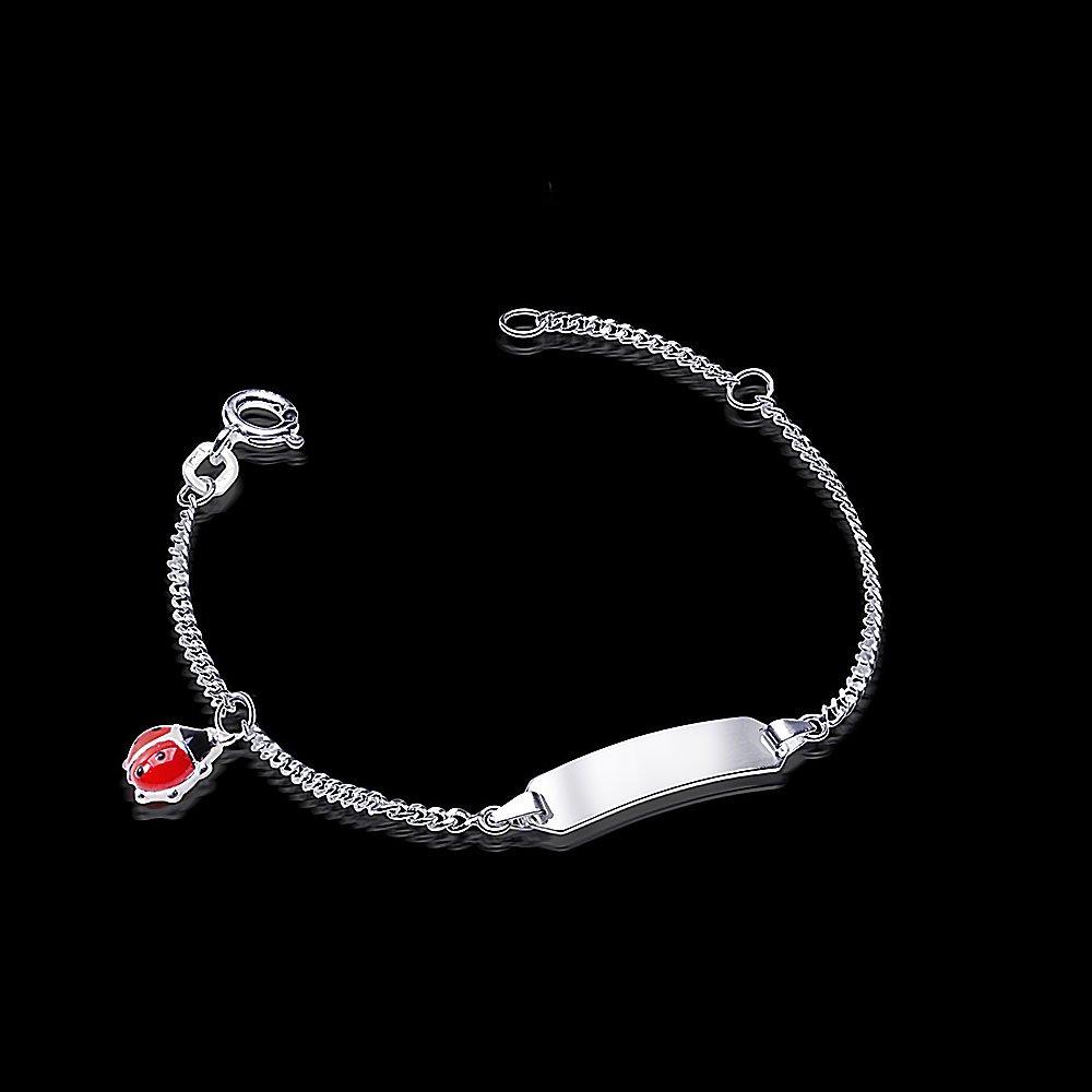 MATERIA Kinder Armband mit Gravur Marienkäfer 925 Silber Emaille rot  rhodiniert 12-14cm  SA größeres Bild 3630fa12b6