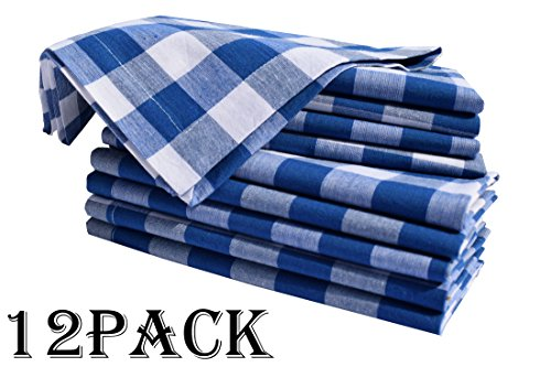 Linen Clubs 12Pack Night Sky Blue White 100% Cotton Yarn Dyed Gingham Check Dinner Napkins 18x18Inch,Clambake Beach Party Nautical Dinner Napkins as Well Offered by Linen Clubs (Image #1)