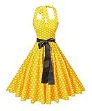 v fashion Women's Vintage 1950s Halter Neck Polka Dot Audrey Hepburn Dress 50s Retro Swing Dresses with Belt,Yellow and White Dot,Medium