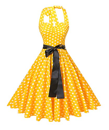 V Fashion Women's Vintage 1950s Halter Neck Polka Dot Audrey Hepburn Dress 50s Retro Swing Dresses with Belt,Yellow and White - Fashion 1950 Women