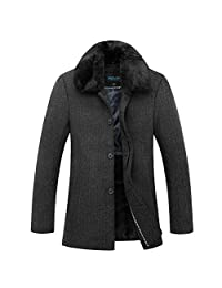 WeiYin Men's Winter Warm Soft Wool Blend Pea Coats Slim Fit Jackets Grey L 175CM