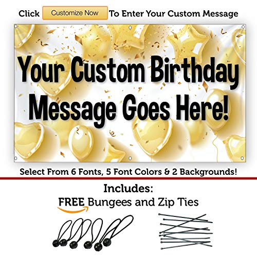 HALF PRICE BANNERS | Custom | Birthday Heart Balloons Vinyl Banner | Indoor/Outdoor | 3'x5' Yellow | Free Bungees & Zip Ties | Easy Hang Sign | Birthday Decorations | Various Sizes | Made in the USA ()