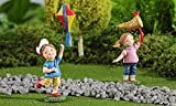 Giftcraft Miniature or Fairy Garden Set of 2 Children at Play with Kite and Butterfly Net