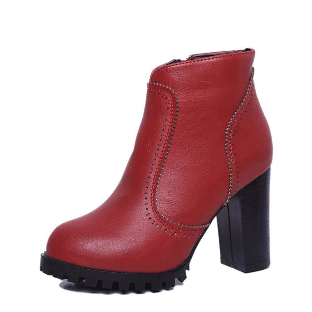 SED Donna 'S Martin Boots Stivali con tacco alto Cerniera laterale a punta e ruvida Scarpe autunno inverno,37 Eu,Rosso 37 Eu