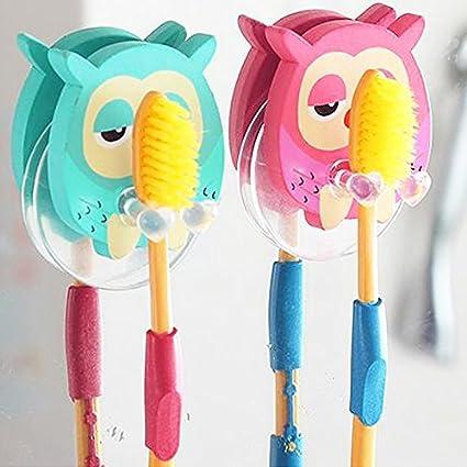 Búho Animal De Madera Cepillo de dientes Pasta de dientes ventosa gancho de pared, soporte