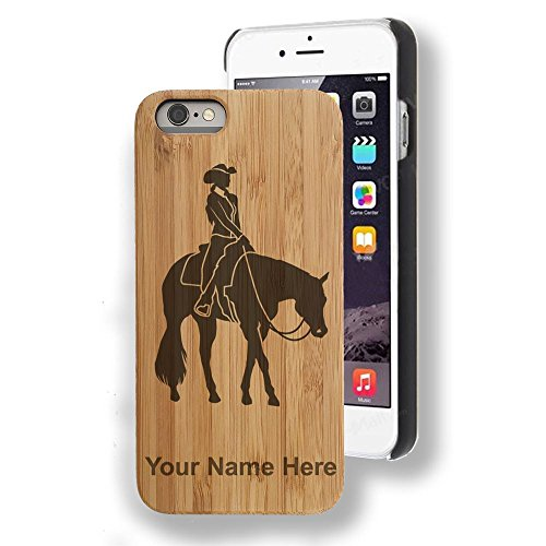 Engraving Western (Bamboo case Compatible with iPhone 7 and iPhone 8, Western Pleasure Horse, Personalized Engraving Included)