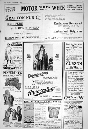 old-original-antique-victorian-print-1922-motor-show-grafton-furs-aquascutum-penberthys-golves-679m2