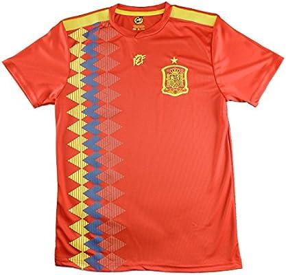 LICECIA DE LA REAL FEDERACION DE FUTBOL ESPAÑOLA Camiseta Infantil España. Producto Oficial Licenciado Mundial Rusia 2018. (Rojo, Talla 14): Amazon.es: Deportes y aire libre