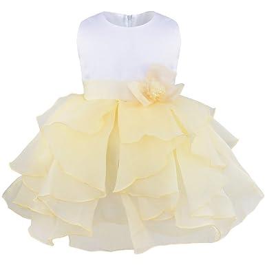 55576f6894166 iiniim Bébé Fille Robe de Mariée sans Manches Organza Robe de Princesse  Demoiselles d honneur