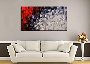 Seekland Large Hand Painted Red and White Abstract Acrylic Canvas Wall Art Modern Artwork Contemporary Painting for Living Room Stretched Ready to Hang Framed 60 W x 30 H