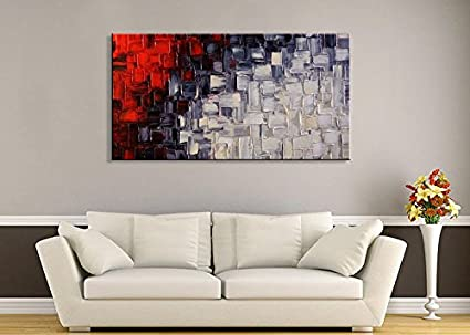 amazoncom seekland hand painted acrylic artwork red and white abstract canvas wall art modern contemporary oil painting for living room stretched and - Living Room Paintings