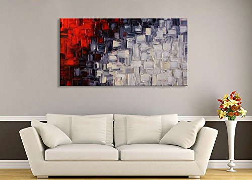 Seekland Hand Painted Acrylic Artwork Red and White Abstract Canvas Wall Art Modern Contemporary Oil Painting for Living Room Stretched and Ready to Hang (Framed 40