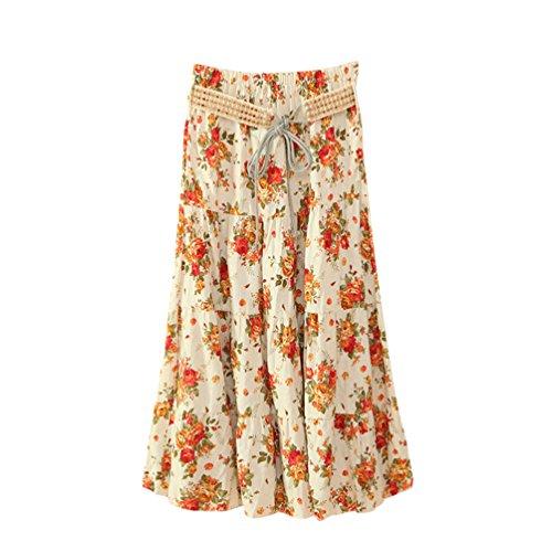 de Jupes lgant Imprim Plage Femmes ZKOOO Lache Haute Longue Style Floral Bohme Rtro Mi Jupe Skirts 11 Taille t PwFfq5