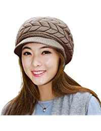 Winter Scarf Hat Visor Caps Infinity Scarves Knit Warm Snow Hats For Women