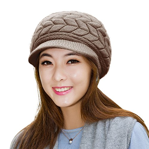 (HINDAWI Winter Hats for Women Girls Warm Wool Knit Snow Ski Skull Cap with Visor (Coffee))