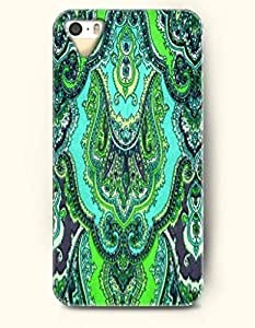 OOFIT Apple iPhone 5 5S Case Paisley Pattern ( Green and aquamarine Floral Zendoodle )