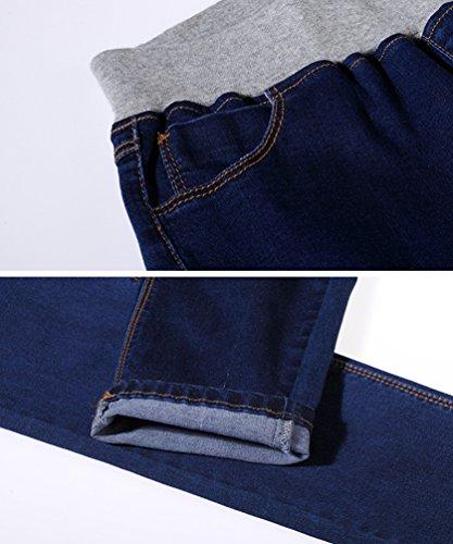 8 Denim Bleu Casual Fit Slim Longueur Automne Grande Extensible Cheville Taille Skinny YuanDian 7 lastique Jeans Fonc Pantalon Taille Femme wgq8wap