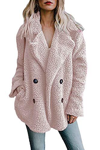 Botonadura Bolsillos Doble Color Otoño Chaqueta Casuales Informales Invierno Elegantes Larga Outerwear Sólido Manga Mujer Mujeres Pink Fashion Abrigos Con C06wxS88