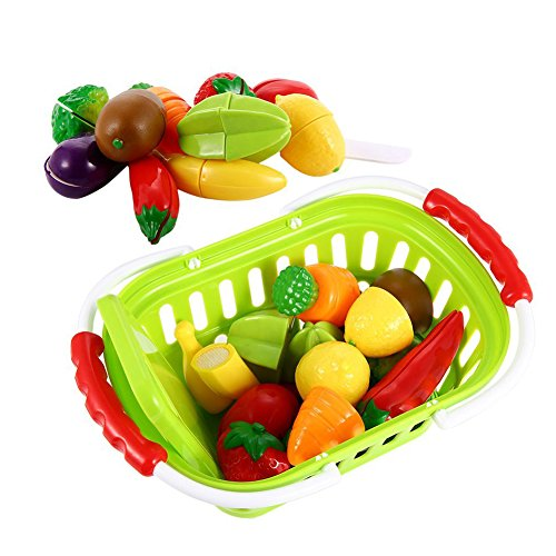 Sakiyr Play Food, 13Pcs Cutting Fruits and Veggies Toy with Basket, Cutting Food Playset for Toddlers