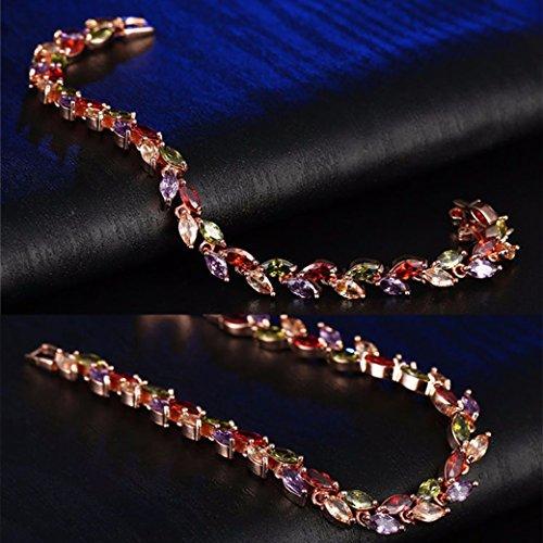 Lujuny Cubic Zircon Leaf Tennis Bracelet - Rose Gold Plated Classic Bangle (Rainbow Bracelet 7.5) by Lujuny (Image #2)
