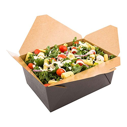 98-OZ Disposable Rectangle Paper Take Out Food Container – #4 Black with Kraft Brown Interior Take Out Box – Easy Fold and Close – ENVIRONMENTAL-FRIENDLY and Recyclable – 200-CT – Restaurantware by Restaurantware