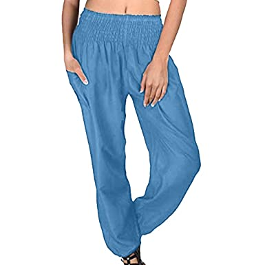 5c778453c1 qiansu Donna Harem Yoga Pantaloni con Elastico Estivi Comode ...