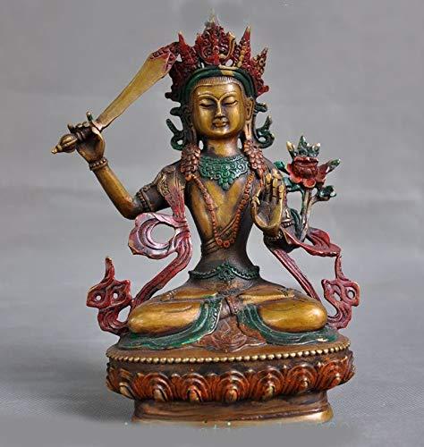 "Wedding Decoration 9"" Tibet Buddhism Bronze Painted Hold Sword Tara Kwan-yin GuanYin Goddess Statue"