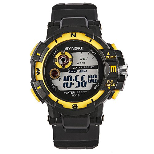 Fxbar, Men Watch Multifunction LED Screen Sport Analog Dive Watch Automatic Watch(Yellow) ()
