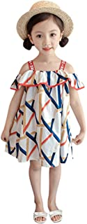 YWLINK Baby Dresses 12-18 Months Girl Toddler Kids Baby Clothes Off Shoulder Strapless Print Princess Dresses First Birthday Princess Party Denim Flow Dress