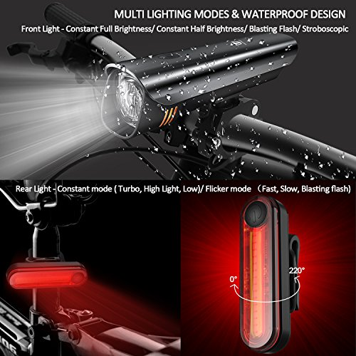 Anti-glare Safety Bike Lights Front and Back, DB DEGBIT Waterproof USB Rechargeable LED Bicycle Light Set, Powerful 4-mode Bright Headlight & Free Rear Light, Easy Install & Release Cycling Flashlight by DB DEGBIT (Image #2)