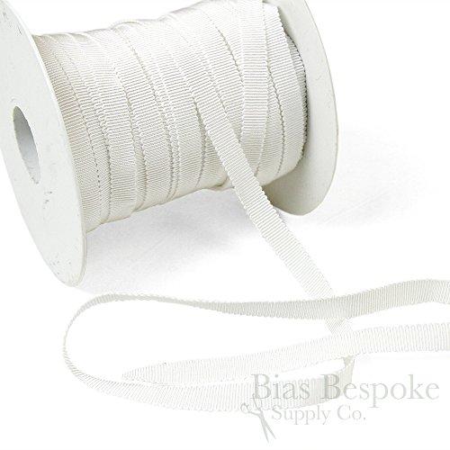 (3 Yards of Vera 3/8'' Cotton & Viscose Petersham Grosgrain Ribbon, White, Made in Italy)