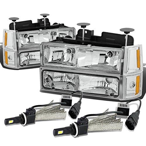 pc Chrome Housing Amber Corner Headlight W/Bumper Light + 9006 LED Conversion Kit ()