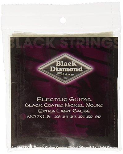 Black Diamond N477XLB Black Coated Nickel Wound Electric Guitar Strings, Extra Light