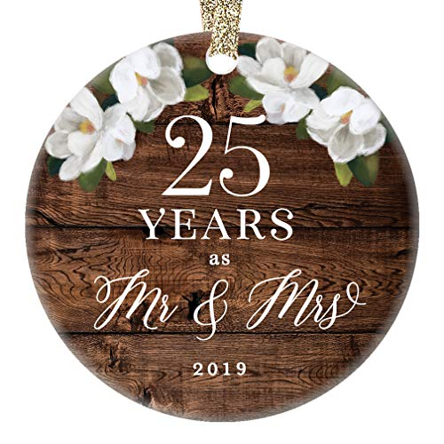 - 25th Anniversary Christmas 2019 Ornament 25th Twenty-Fifth Silver Wedding Anniversary Keepsake Present 25 Twenty-Five Years Married Rustic Floral 3