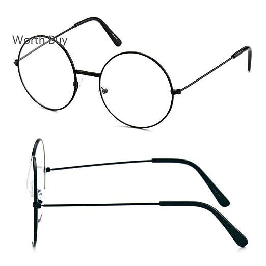 6111c99599 Amazon.com  John Lennon Round Retro Metal Frame Clear Lens Eye Glasses  Fashion Hippies 80s  Clothing