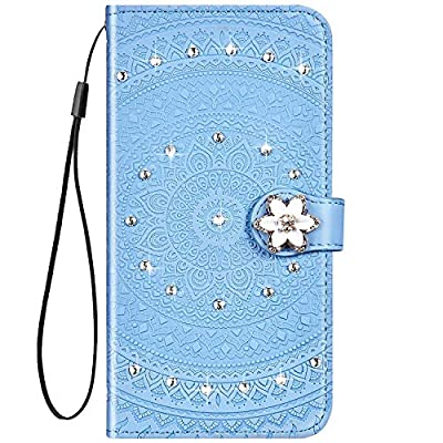 IKASEFU Compatible with Samsung Galaxy A20 Case Glitter mandala Floral Rhinestone Crystal Pu Leather Diamond Bling Wallet Strap Case with Card Holder Magnetic Flip Protective Cover Case,blue: Musical Instruments