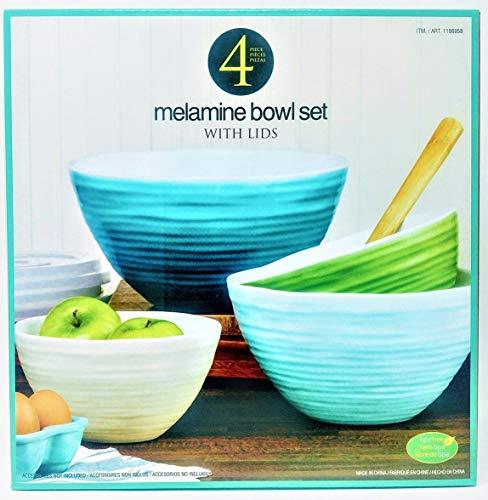 (4 Melamine Bowl Set with Lids)