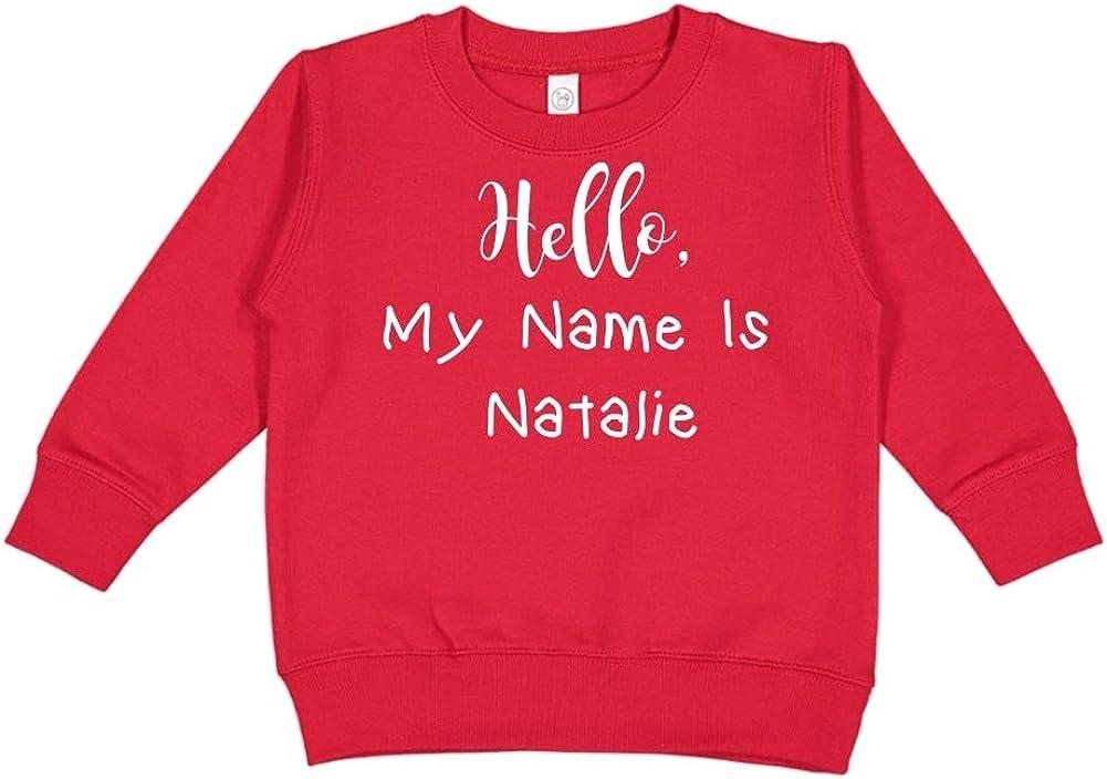Mashed Clothing Hello Personalized Name Toddler//Kids Sweatshirt My Name is Natalie