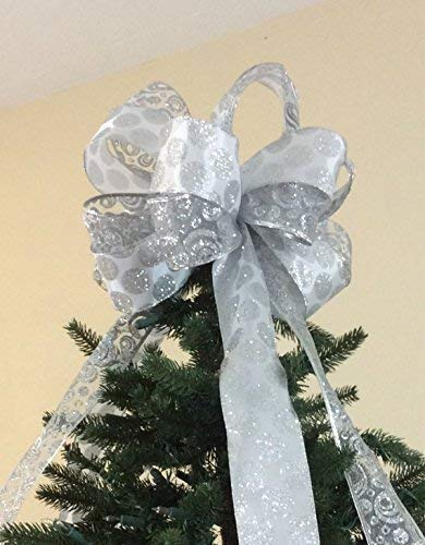 Christmas Tree Bows White.White Silver Glittered Christmas Tree Topper Bow Large Silver And Gold Collection Custom Bows By Jami