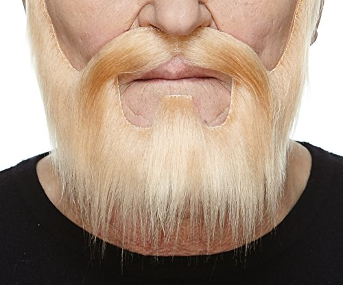 Mustaches Self Adhesive, Novelty, Nomad Fake Beard and Fake Mustache, False Facial Hair, Costume Accessory for Adults, Blond Color -